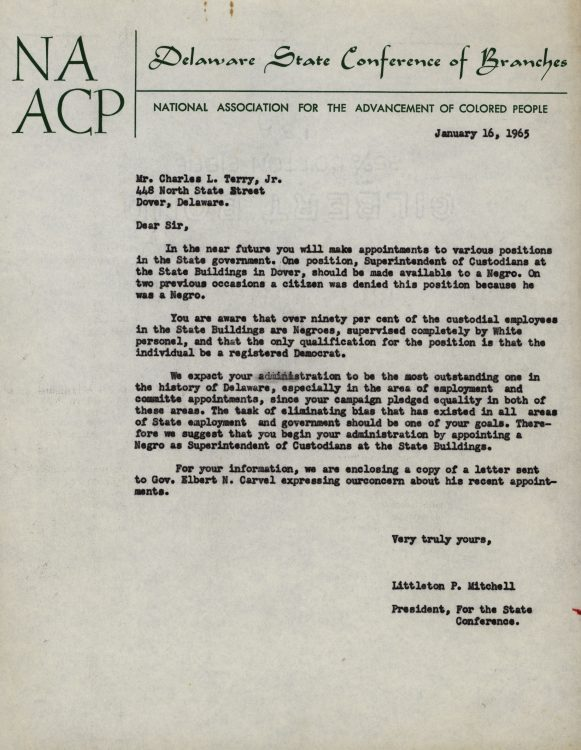 Letter to Governor Charles Terry regarding Negro employment in state government, 1965 January 16