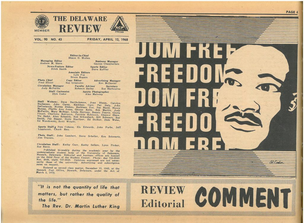 Martin Luther King, Jr. (editorial cartoon). The Review, 1968 April 12. Volume 90, number 43, page 4