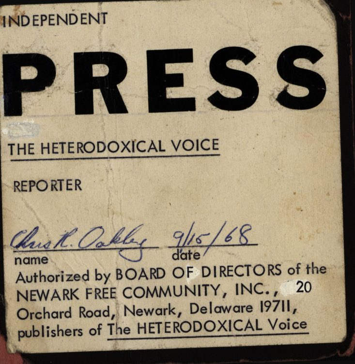 Independent press pass for Chris R. Oakley, The Heterodoxical Voice, 1968 September 15