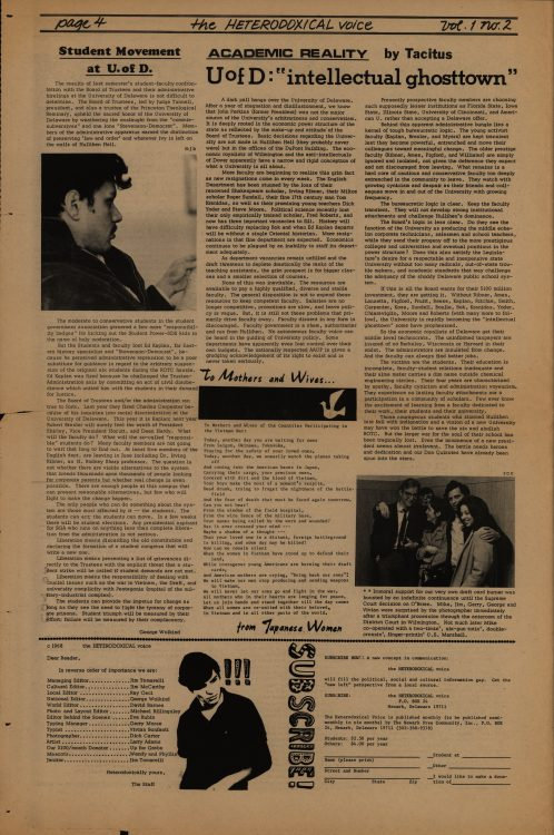 The Heterodoxical Voice, 1968 April. Volume 1, number 2, page 4 (full page)