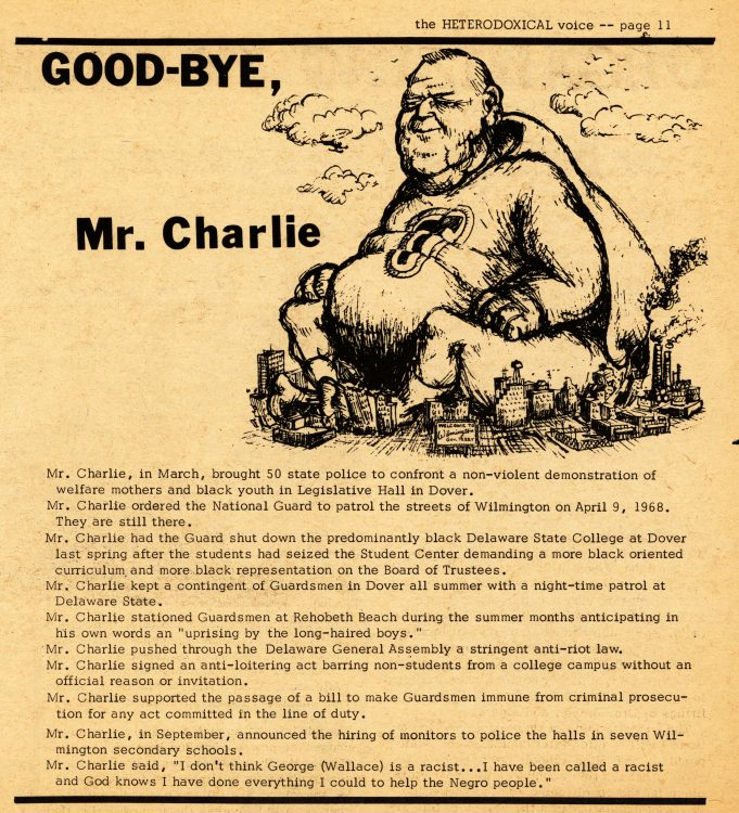 """Good-bye, Mr. Charlie."" The Heterodoxical Voice, 1969 January. Volume 1, number 10, page 11"