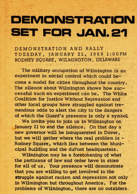 """Demonstration set for Jan. 21."" The Heterodoxical Voice, 1969 January. Volume 1, number 10, page 3"