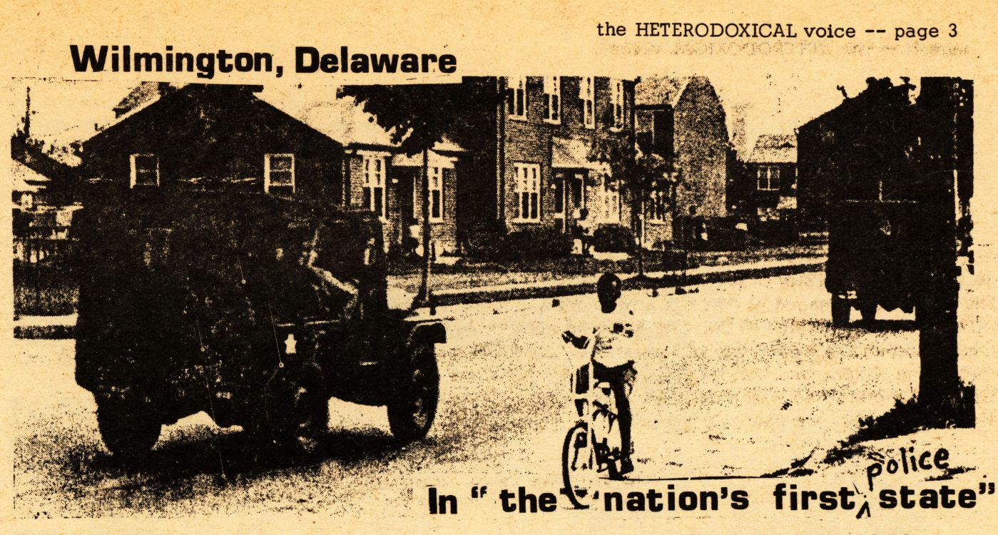 "In ""the nation's first [police] state"" (photograph). The Heterodoxical Voice, 1969 January. Volume 1, number 10, page 3"