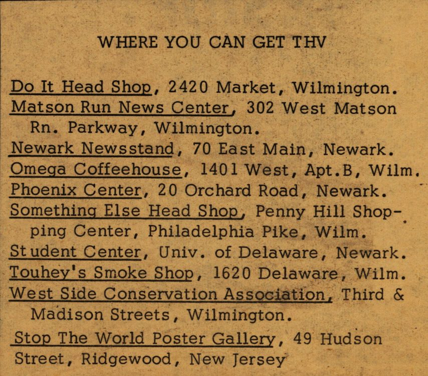 """Where you can get THV."" The Heterodoxical Voice, 1969 March. Volume 1, number 11, page 2"