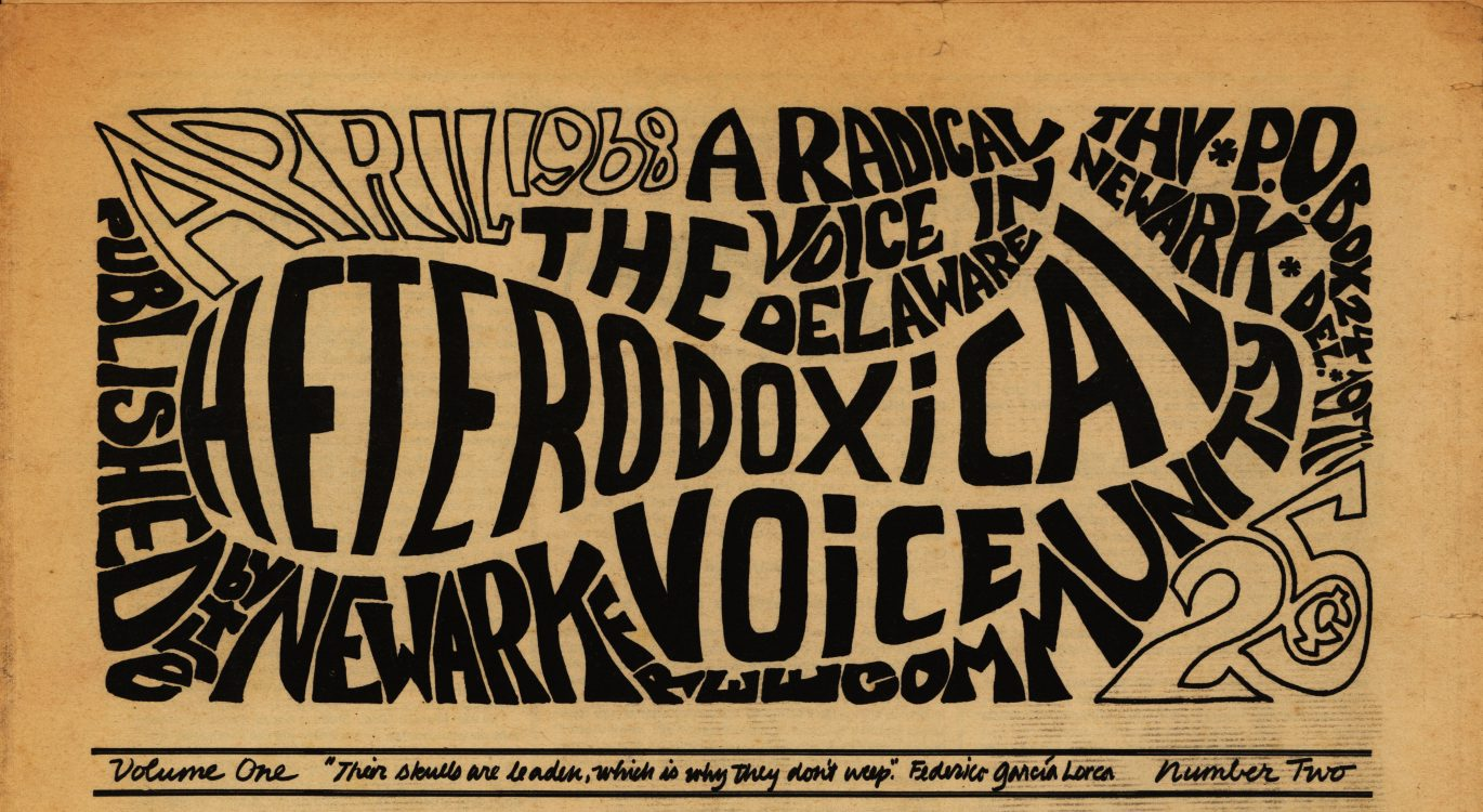 The Heterodoxical Voice, 1968 April. Volume 1, number 2, page 1 (detail)