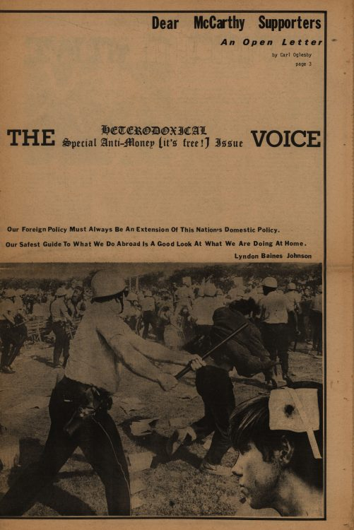 Special Anti-Money (It's Free!) Issue. The Heterodoxical Voice, 1968 September. Volume 1, number 6 (front cover)