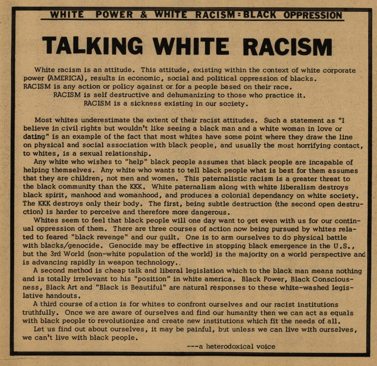 """Talking white racism (editorial)."" The Heterodoxical Voice, 1968 November. Volume 1, number 8, page 4"