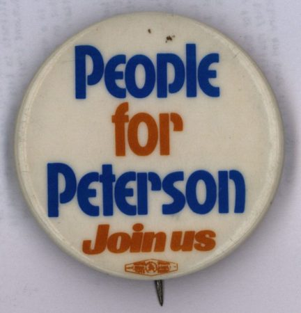 """People for Peterson, join us"" campaign button, 1968"