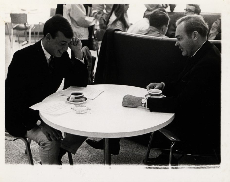 The Review editor-in-chief Shaun Mullen interviewing presidential hopeful Eugene McCarthy (photograph), 1968