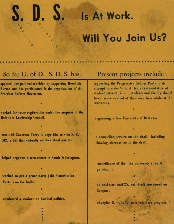 """SDS is at work. Will you join us?"" (flyer), 1968"