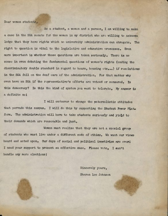 """Dear Women students,"" (campaign letter regarding rights of women students at UD), 1968"