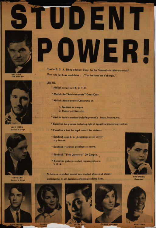 """""""Student Power!"""" (candidate platform for Student Government Association election for academic year 1967-1968). The Review, 1967 April 14. Volume 88, number 26, page 17"""