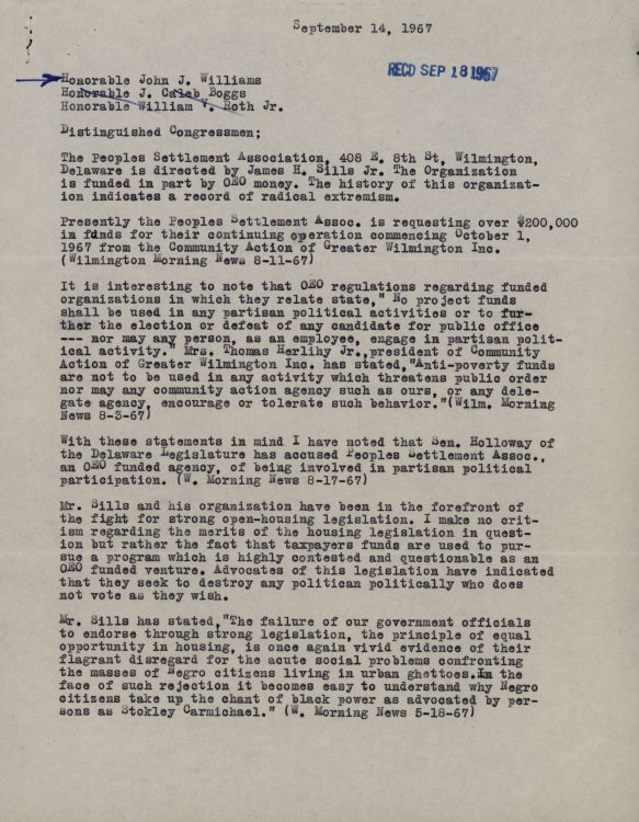 Constituent letter to Senator John J. Williams regarding the Peoples Settlement Association and political activism, 1967 September 14
