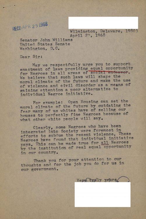 Constituent letter to Senator John Williams regarding equal opportunity, 1968 April 22