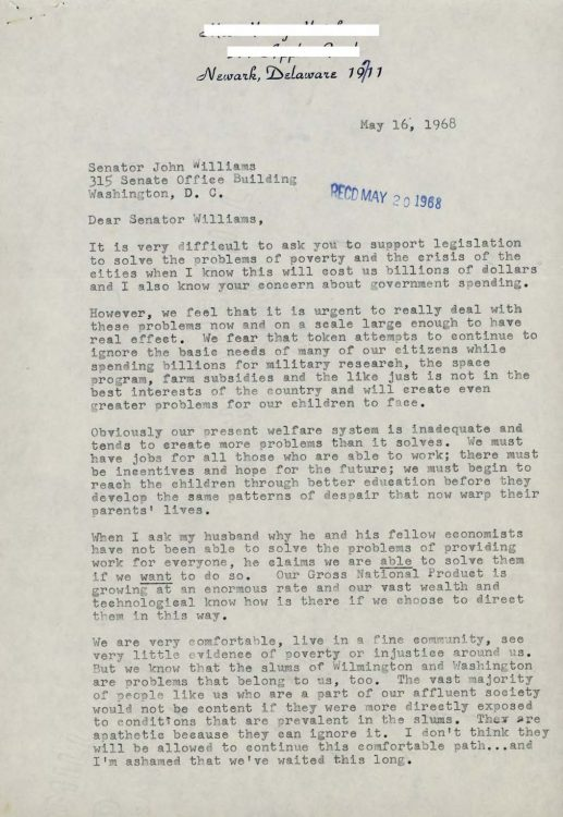 Constituent letter to Senator John Williams supporting legislation to improve welfare and combat poverty, 1968 May 16