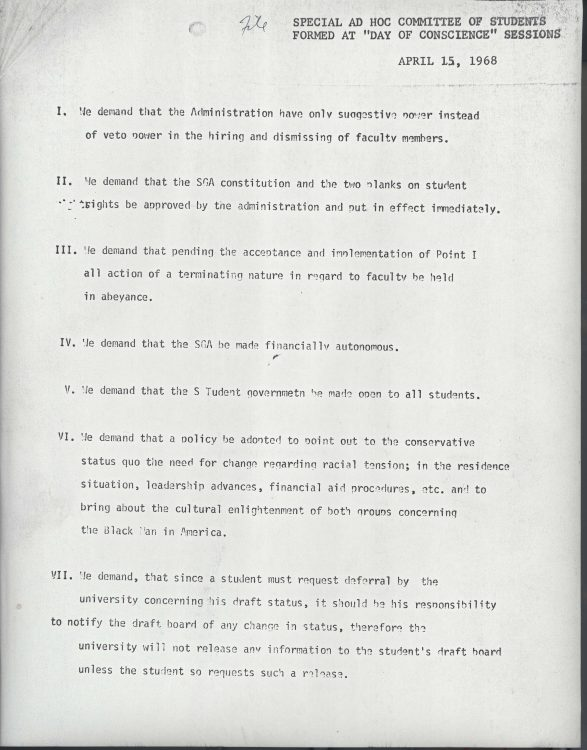 "Flyer from the Special Ad Hoc Committee of Students formed at ""Day of Conscience"" Sessions. ""Demands,"" 1968 April 15"