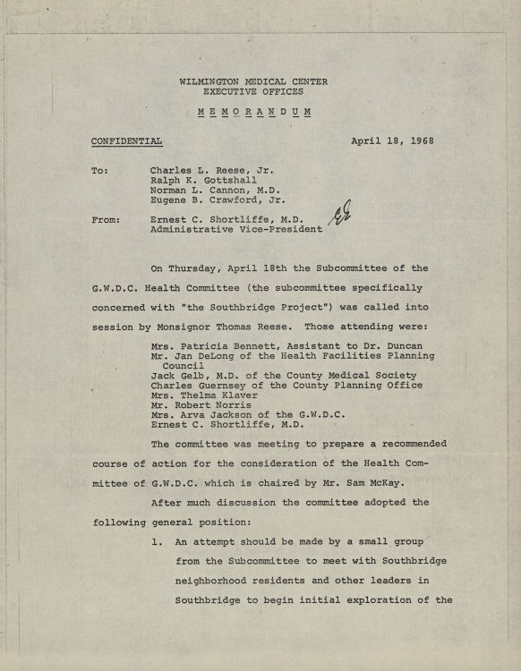 Memorandum to Subcommittee of the GWDC Health Committee, Plan to develop a neighborhood health center, 1968 April 18