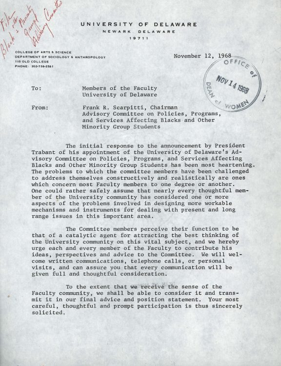 Memorandum to faculty on behalf of the Advisory Committee on Politics, Programs and Services Affecting Blacks and Other Minority Group Students, 1968 November 12