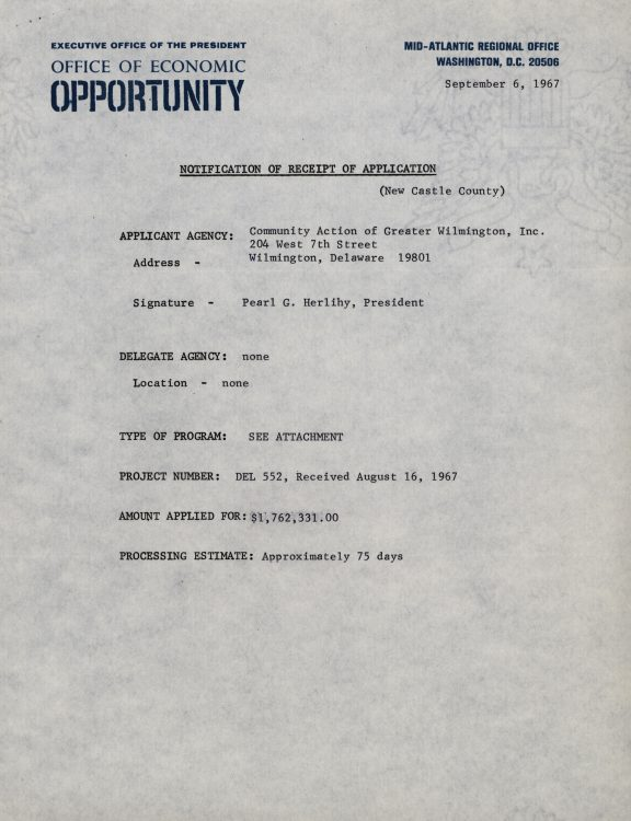 Receipt of grant application from the Community Action of Greater Wilmington, Inc., 1967 September 6