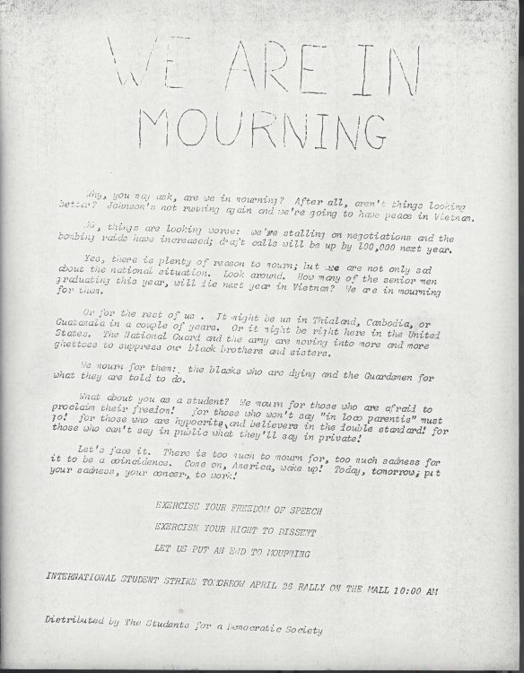 "SDS flyer, ""We are in mourning,"" 1968"