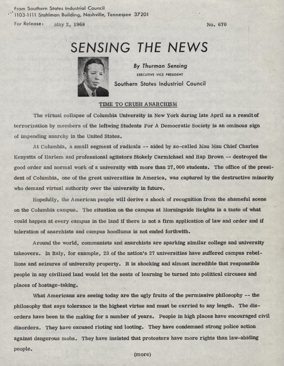 """Sensing the News: Time to Crush Anarchism,"" by Thurman Sensing, executive vice president , Southern States Industrial Council, 1968 May 2"