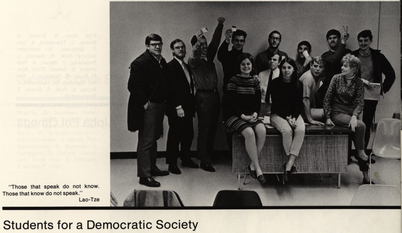 Students for a Democratic Society. Blue Hen 1968, page 349