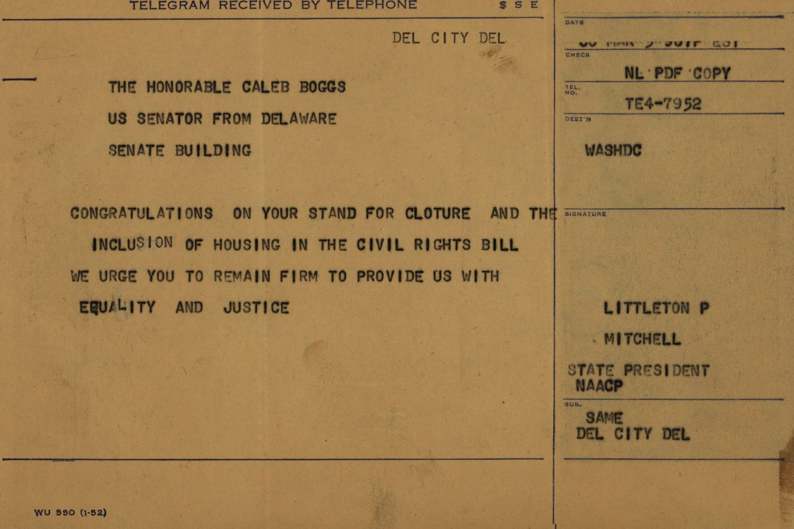 Telegrams to Republican Senators Caleb Boggs and John Williams regarding cloture vote and inclusion of fair housing in the civil rights bill, 1968 March 3