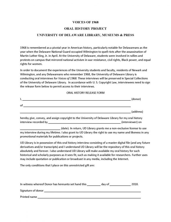 Voices of 1968 Release Form