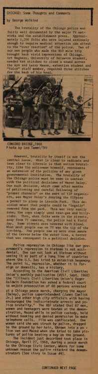 """Chicago: some thoughts and comments."" The Heterodoxical Voice, 1968 September. Volume 1, number 6, pages 10-11"