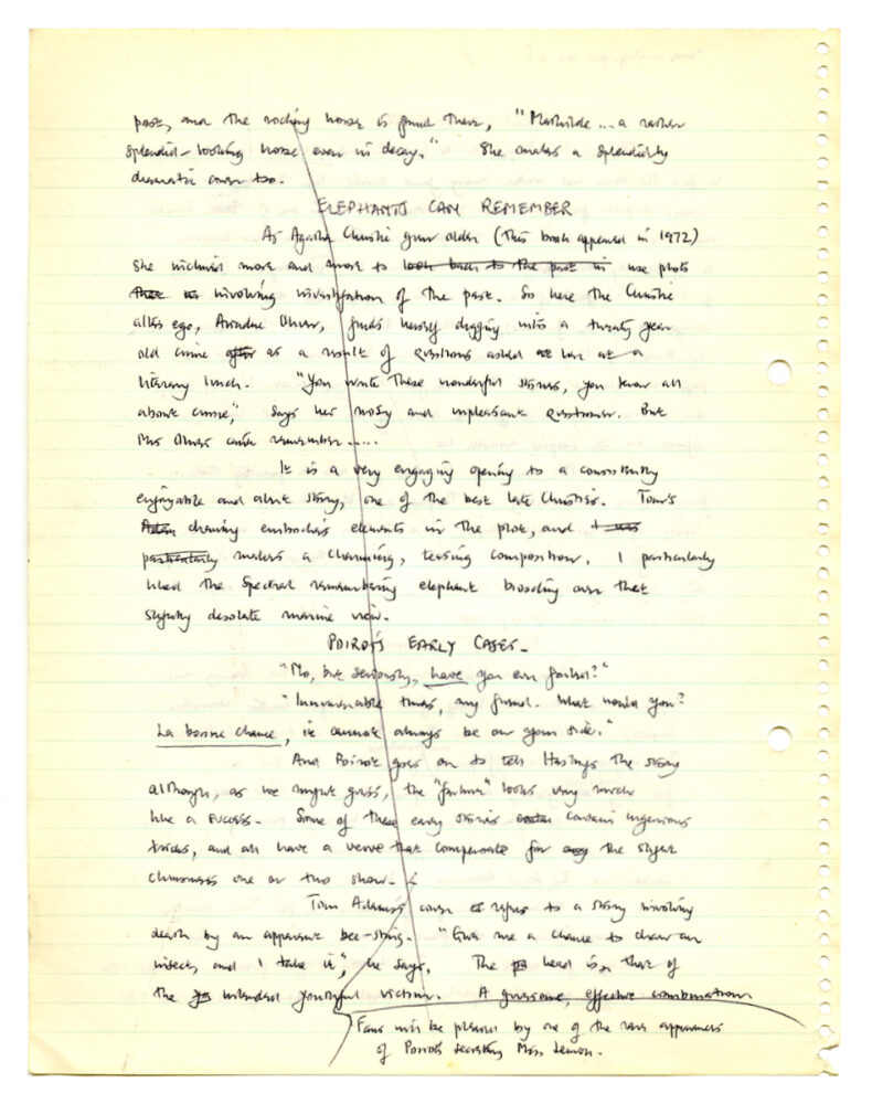"""Symons, Julian. """"The Agatha Christie Story,"""" [n.d.] Notes and text for a book on Agatha Christie, included in a notebook with other material. 36p. Julian Symons papers, 1944-1994 (MSS 0204)."""