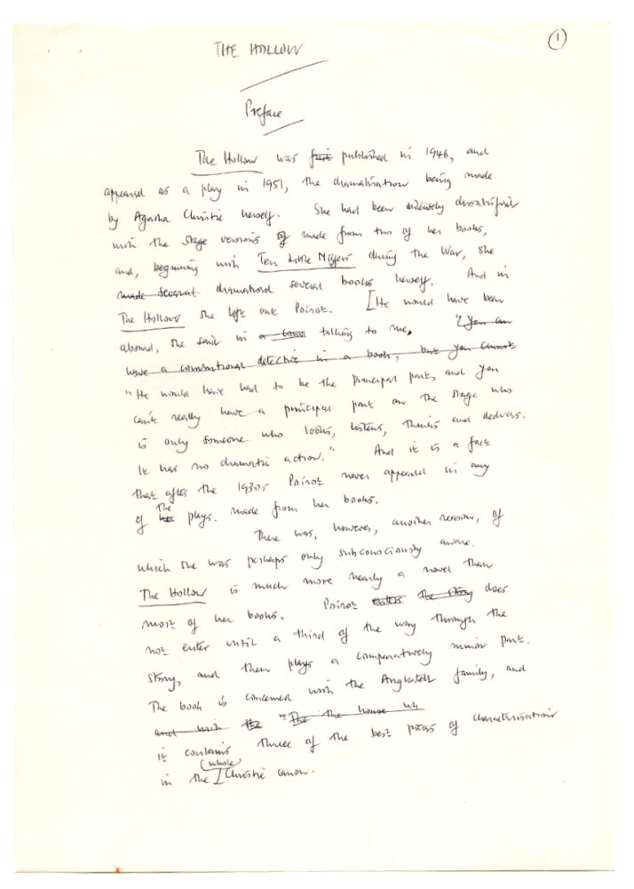 Symons, Julian. The Hollow, [n.d.] Autograph draft of the preface and postface. 5p. Julian Symons papers, 1944-1994 (MSS 0204).