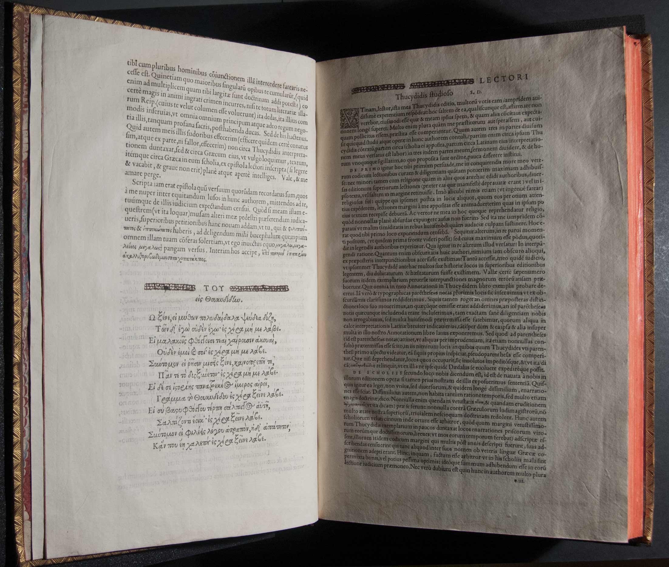 Thoukydidou tou Olorou Peri tou Peloponnēsiakou polemou biblia oktō = Thucydidis Olori filii De bello Peloponnesiaco libri octo. Iidem Latinè