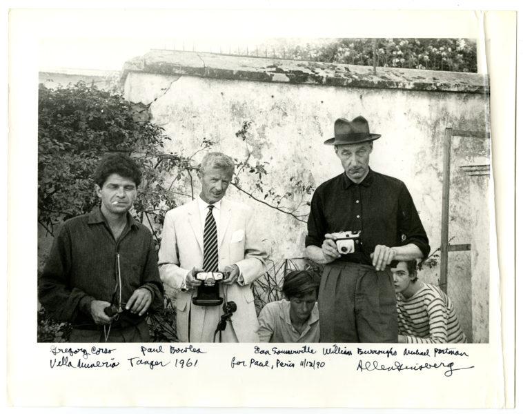 Gregory Corso, Paul Bowles, Ian Sommerville, William Burroughs, Michael Portman, Villa Muneria [sic], Tanger 1961