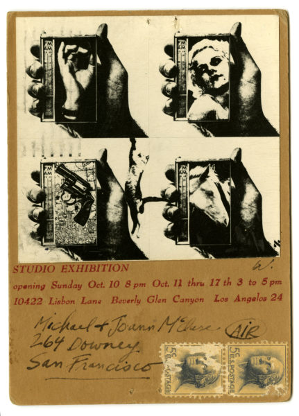 Wallace Berman. Handmade exhibition announcement with photograph, addressed to Michael and Joanna McClure, 1965.