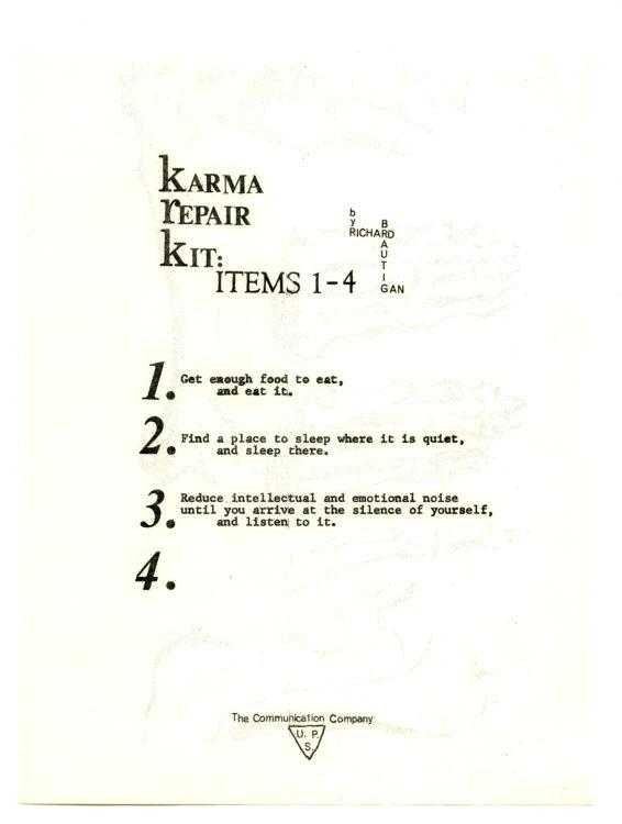 Richard Brautigan. Karma Repair Kit