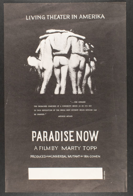 Robert LaVigne (American, 1928 – 2014). Paradise Now [A film by Marty Topp, produced by Ira Cohen], 1969