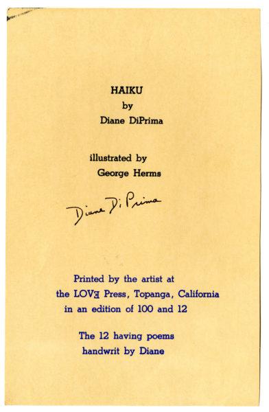 Diane di Prima and George Herms. Haiku, 1966.
