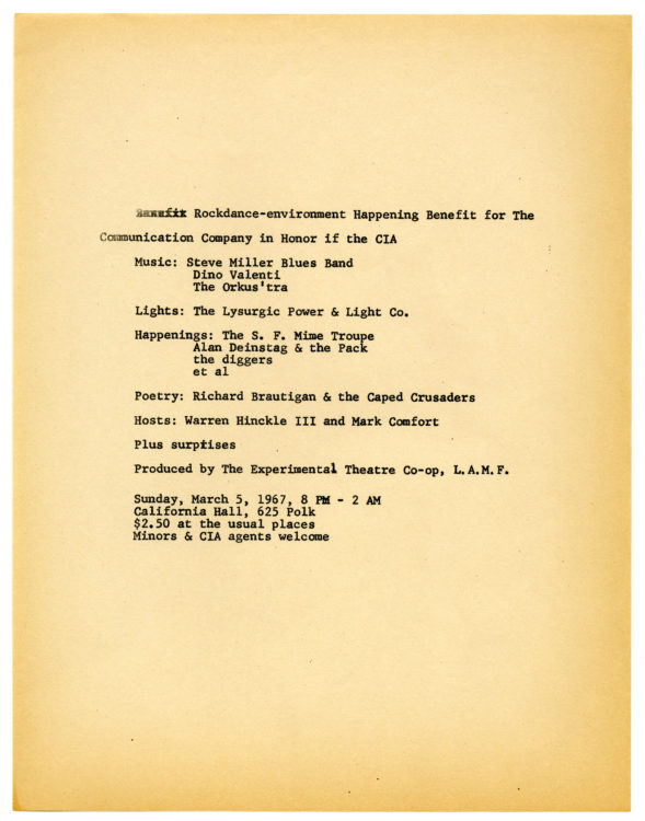 Rockdance-environment Happening Benefit for the Communication Company in Honor of the CIA, 1967