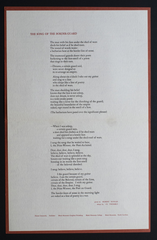Robert Duncan, et. al. The Song of the Border Guard, 1952. (2)