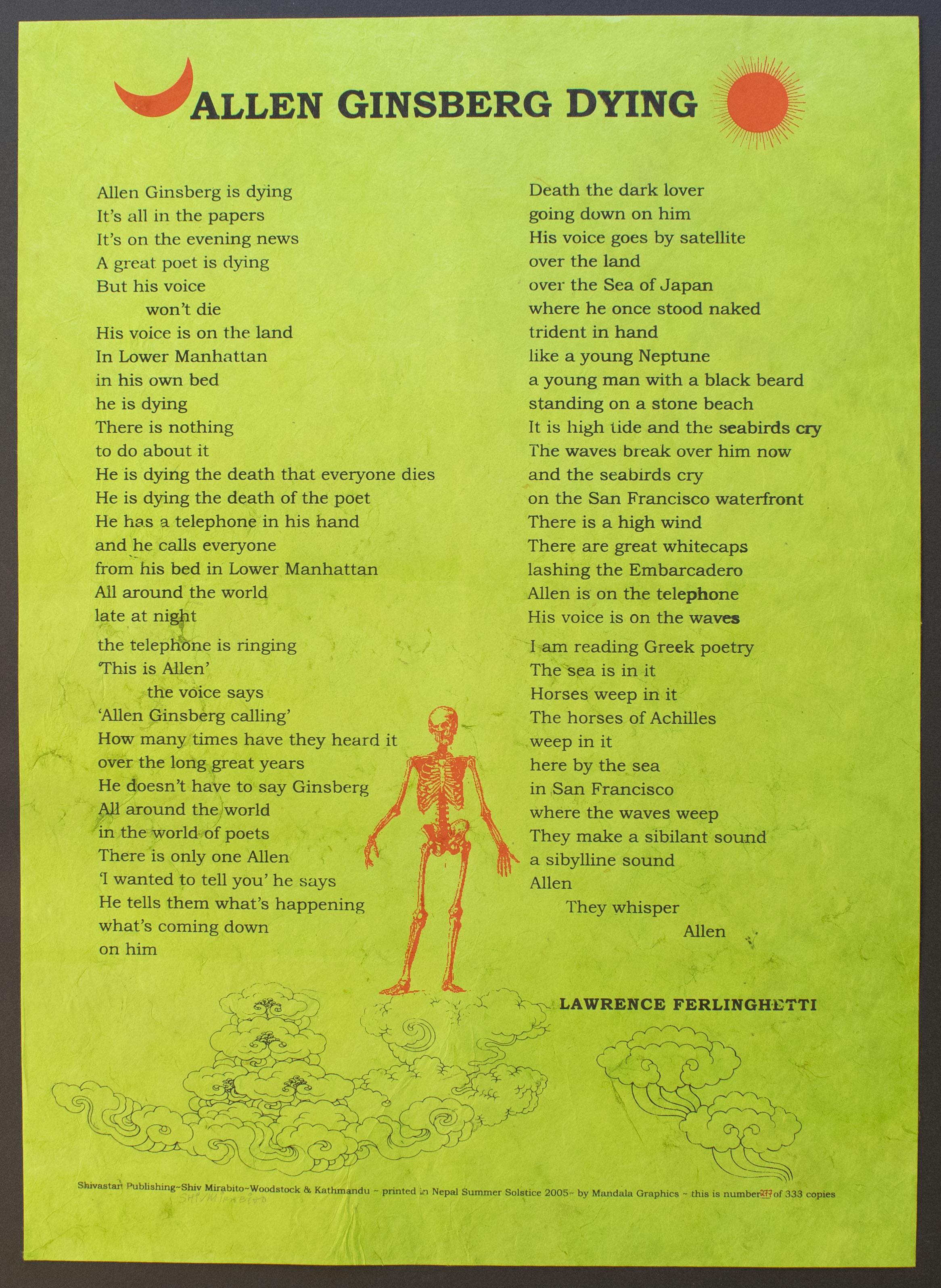 Lawrence Ferlinghetti (American, b. 1919). Allen Ginsberg Dying, 2005