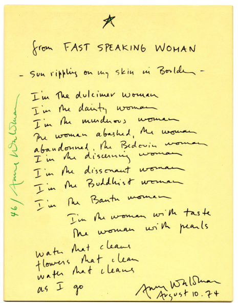 from Fast Speaking Woman, 1974