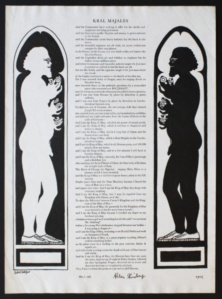 Allen Ginsberg, poet (American, 1926 – 1997) Robert LaVigne, designer (American, 1928 – 2014) Kral Majales, 1965