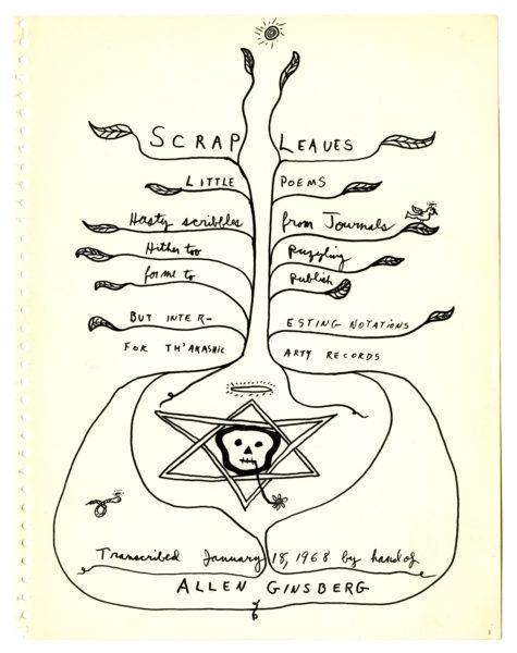 Allen Ginsberg (American, 1926 – 1997) Allen Ginsberg, four manuscript pages for Scrap Leaves (1)