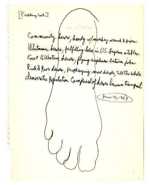 Allen Ginsberg (American, 1926 – 1997) Allen Ginsberg, four manuscript pages for Scrap Leaves (4)