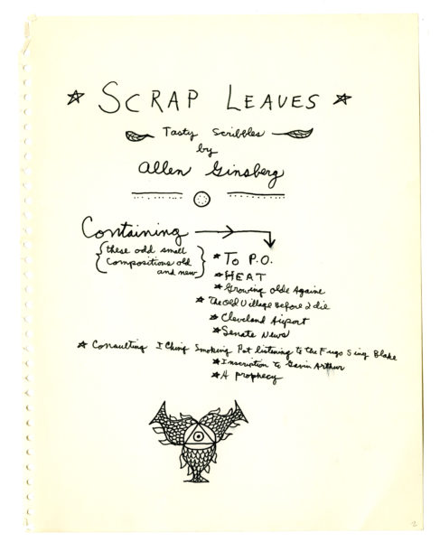 Allen Ginsberg (American, 1926 – 1997) Allen Ginsberg, four manuscript pages for Scrap Leaves (2)