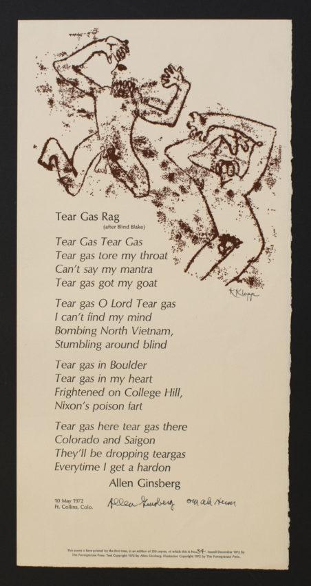 Allen Ginsberg (American, 1926 – 1997) Karyl Klopp, illustrator. Tear Gas Rag, 1972