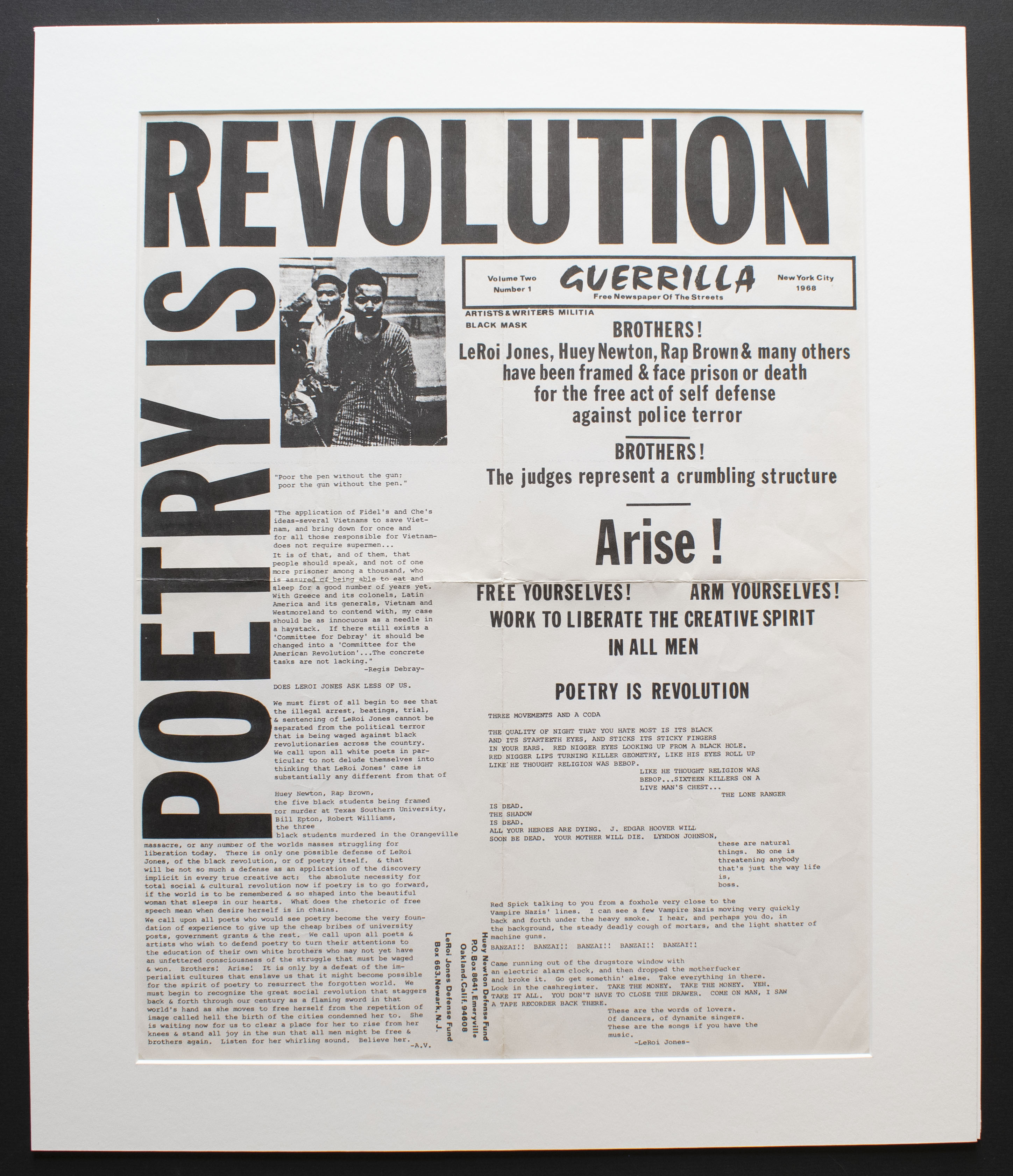 Poetry is Revolution, Guerrilla: Free Newspaper of the Streets, vol. 2, no. 1, 1968