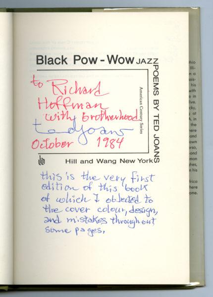 Ted Joans. Black Pow-Wow: Jazz Poems, 1969 (2)