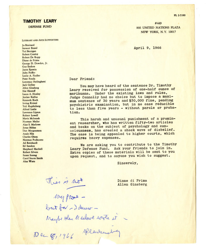 Timothy Leary Defense Fund letter, signed Diane di Prima and Allen Ginsberg. 1966