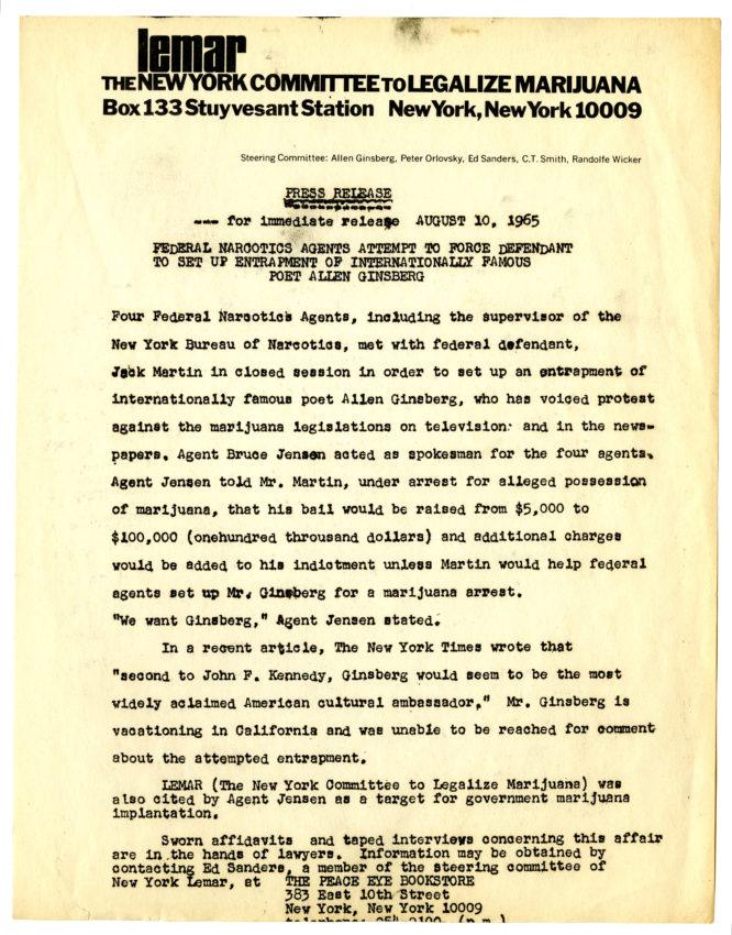 LEMAR press release concerning entrapment effort directed at Allen Ginsberg
